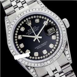 Rolex Men's Stainless Steel, QuickSet, Diamond Dial & Diamond Bezel - REF-587Y5X