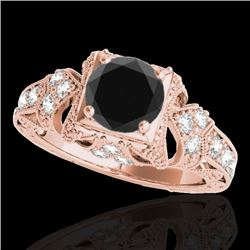 1.25 CTW Certified VS Black Diamond Solitaire Antique Ring 10K Rose Gold - REF-68H4A - 34670