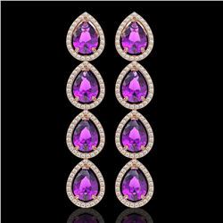 10.85 CTW Amethyst & Diamond Halo Earrings 10K Rose Gold - REF-154Y2K - 41322