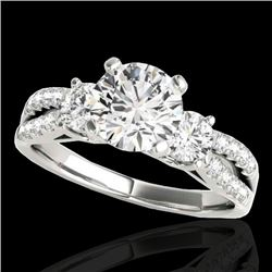 1.5 CTW H-SI/I Certified Diamond 3 Stone Ring 10K White Gold - REF-172W8F - 35403