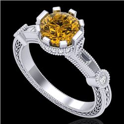 1.71 CTW Intense Fancy Yellow Diamond Engagement Art Deco Ring 18K White Gold - REF-327A3X - 37861