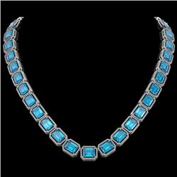 79.01 CTW Swiss Topaz & Diamond Halo Necklace 10K White Gold - REF-739N3Y - 41507