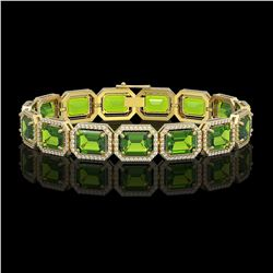 33.37 CTW Peridot & Diamond Halo Bracelet 10K Yellow Gold - REF-405M5H - 41551