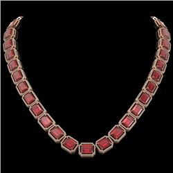80.32 CTW Tourmaline & Diamond Halo Necklace 10K Rose Gold - REF-1178F4N - 41493