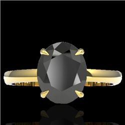 5 CTW Black VS/SI Diamond Designer Inspired Solitaire Ring 18K Yellow Gold - REF-161F8N - 22056