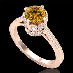 1.5 CTW Intense Fancy Yellow Diamond Engagement Art Deco Ring 18K Rose Gold - REF-209F3N - 37351