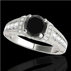 1.75 CTW Certified VS Black Diamond Solitaire Antique Ring 10K White Gold - REF-82T2M - 34786