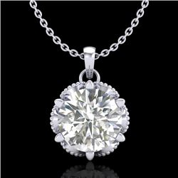 1.36 CTW VS/SI Diamond Solitaire Art Deco Necklace 18K White Gold - REF-361K8W - 37244