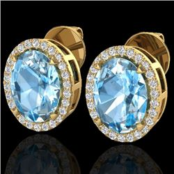 5.50 CTW Sky Blue Topaz & Micro VS/SI Diamond Halo Earrings 18K Yellow Gold - REF-63Y3K - 20244