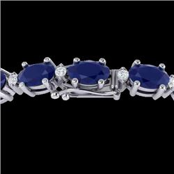 23.5 CTW Sapphire & VS/SI Certified Diamond Eternity Bracelet 10K White Gold - REF-143K6W - 29377