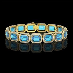 35.61 CTW Swiss Topaz & Diamond Halo Bracelet 10K Yellow Gold - REF-337T3M - 41557