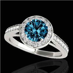 1.45 CTW Si Certified Fancy Blue Diamond Solitaire Halo Ring 10K White Gold - REF-169F3N - 33801