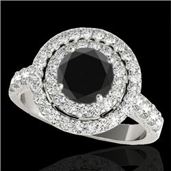 2.25 CTW Certified VS Black Diamond Solitaire Halo Ring 10K White Gold - REF-116K9W - 34214