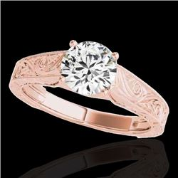 1.5 CTW H-SI/I Certified Diamond Solitaire Antique Ring 10K Rose Gold - REF-327K6W - 35192