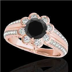 2.05 2.05 CTW Certified VS Black Diamond Solitaire Halo Ring 10K Rose Gold - REF-90A8X - 34481