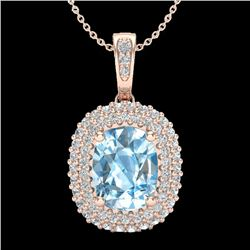 3 CTW Blue Topaz & Micro Pave VS/SI Diamond Halo Necklace 10K Rose Gold - REF-65T5M - 20404