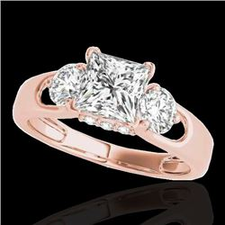 1.6 CTW VS/SI Certified Princess Cut Diamond 3 Stone Ring 10K Rose Gold - REF-385A8X - 35422
