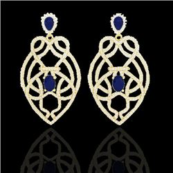 7 CTW Sapphire & Micro VS/SI Diamond Heart Earrings Designer 14K Yellow Gold - REF-381A8X - 21141