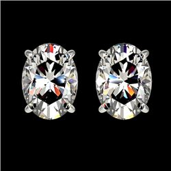 2 CTW Certified VS/SI Quality Oval Diamond Solitaire Stud Earrings 10K White Gold - REF-585A2X - 330