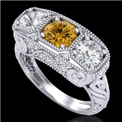 2.51 CTW Intense Fancy Yellow Diamond Art Deco 3 Stone Ring 18K White Gold - REF-345A5X - 37721