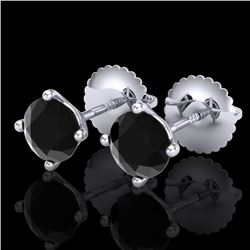1.01 CTW Fancy Black Diamond Solitaire Art Deco Stud Earrings 18K White Gold - REF-40W2F - 38227