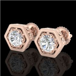 1.07 CTW VS/SI Diamond Solitaire Art Deco Stud Earrings 18K Rose Gold - REF-190T9M - 36900