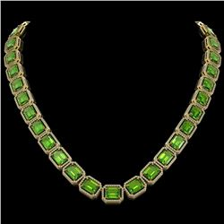 73.41 CTW Peridot & Diamond Halo Necklace 10K Yellow Gold - REF-888F2N - 41503