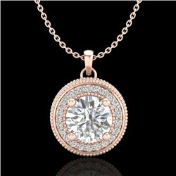 1.25 CTW VS/SI Diamond Solitaire Art Deco Stud Necklace 18K Rose Gold - REF-218M2H - 37143