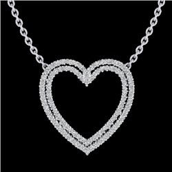 2 CTW VS/SI Diamond Double Heart Halo Designer Necklace 14K White Gold - REF-134A8X - 20481