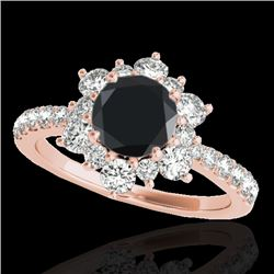 2 CTW Certified VS Black Diamond Solitaire Halo Ring 10K Rose Gold - REF-96X5T - 33710