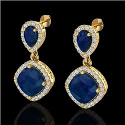 7 CTW Sapphire & Micro Pave VS/SI Diamond Earrings Designer Halo 10K Yellow Gold - REF-107H3A - 2021