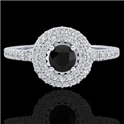 0.80 CTW Micro VS/SI Diamond Designer Ring 18K White Gold - REF-59W5F - 20893