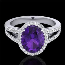 3 CTW Amethyst & Micro VS/SI Diamond Halo Solitaire Ring 18K White Gold - REF-67H6A - 20927