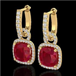 6 CTW Ruby & Micro Pave VS/SI Diamond Earrings 18K Yellow Gold - REF-118F9N - 22969