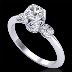 1 CTW VS/SI Diamond Solitaire Art Deco Ring 18K White Gold - REF-157N5Y - 36851
