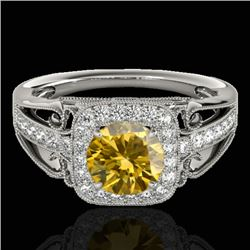 1.3 CTW Certified Si/I Fancy Intense Yellow Diamond Solitaire Halo Ring 10K White Gold - REF-236F4N
