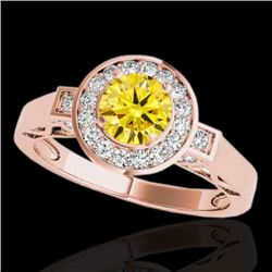 1.5 CTW Certified Si/I Fancy Intense Yellow Diamond Solitaire Halo Ring 10K Rose Gold - REF-180H2A -