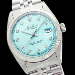Rolex Men's Stainless Steel, QuickSet, Diamond Dial with Fluted Bezel - REF-461Y3X