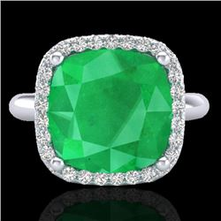 6 CTW Emerald And Micro Pave Halo VS/SI Diamond Ring Solitaire 18K White Gold - REF-82A9X - 23097