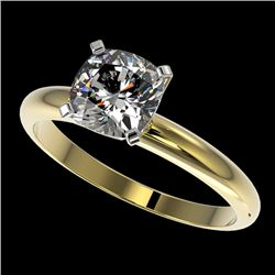 1.25 CTW Certified VS/SI Quality Cushion Cut Diamond Solitaire Ring 10K Yellow Gold - REF-372A3X - 3