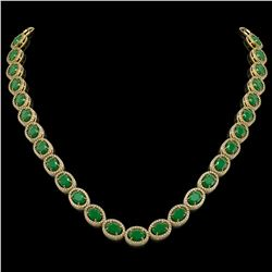 52.15 CTW Emerald & Diamond Halo Necklace 10K Yellow Gold - REF-655N3Y - 40555