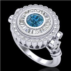 2.03 CTW Fancy Intense Blue Diamond Solitaire Art Deco Ring 18K White Gold - REF-245X5T - 37901