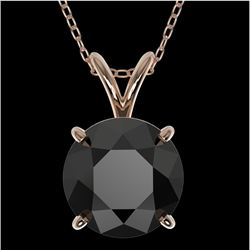 2 CTW Fancy Black VS Diamond Solitaire Necklace 10K Rose Gold - REF-43Y2K - 33234