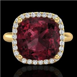 6 CTW Garnet And Micro Pave Halo VS/SI Diamond Ring Solitaire 18K Yellow Gold - REF-56H9A - 23101