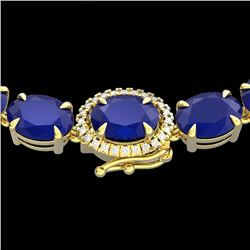 54.25 CTW Sapphire & VS/SI Diamond Tennis Micro Pave Halo Necklace 14K Yellow Gold - REF-254N5Y - 40