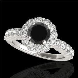 1.75 CTW Certified VS Black Diamond Solitaire Halo Ring 10K White Gold - REF-89W3F - 34162