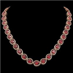 41.6 CTW Tourmaline & Diamond Halo Necklace 10K Rose Gold - REF-832K4W - 41205