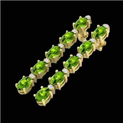 10.36 CTW Peridot & VS/SI Certified Diamond Earrings 10K Yellow Gold - REF-65W8F - 29402