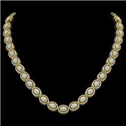 32.42 CTW Opal & Diamond Halo Necklace 10K Yellow Gold - REF-670X8T - 40570