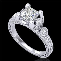 1.75 CTW Princess VS/SI Diamond Art Deco Ring 18K White Gold - REF-445X5T - 37148